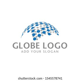 A halftone 3D globe logo design vector symbol icon. dotted globe icon. Representing smooth global connection.