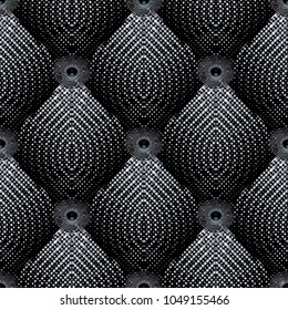Halftone 3d greek key dotted seamless pattern. Vector geometric half tone tiled rhombus background. Circle meander mandala. Modern textured ornament with dots, rhombus, circles. Surface ornate texture