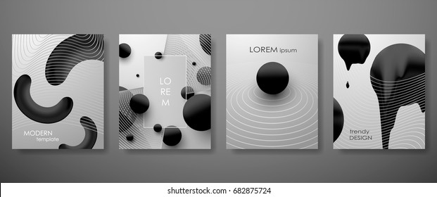 Halftone, 3D, Minimal covers design,gradients, ball shapes. Vector geometric illustration