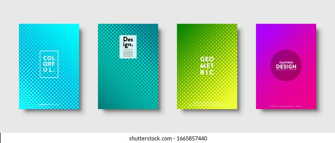 Halftone abstract background with dots. Colorful gradient design. Modern geometric banners with circles. Pop art. Vector illustration.