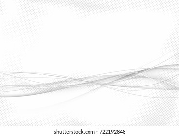 Halftone abstract futuristic elegant graphic speed airy swoosh lines background. Modern grey fashion beautiful mild dotted motion wave layout template. Smoke curve over white. Vector illustration