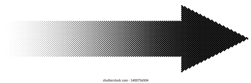 Halftone arrow with fading gradient. Half-tone arrow shape