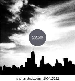Halftone Background Design - Chicago Skyline