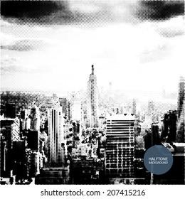 Halftone Background Design - New York Skyline