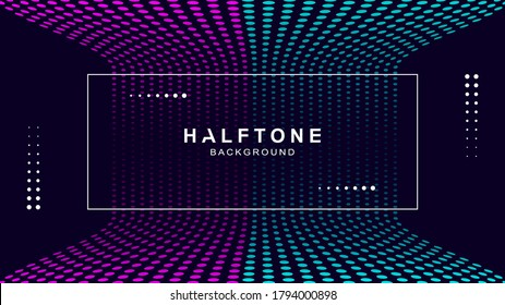 Halftone background with frame, vector design