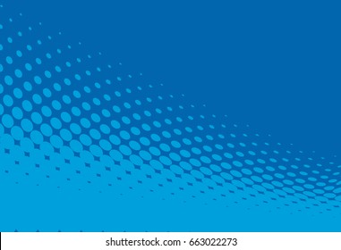 Halftone background. Pop art style. Blue color. Pattern with circles, dots, design element for web banners, posters, cards, Wallpaper, backdrops, labels, sites, stickers. Vector illustration