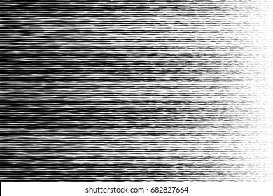 Halftone black to white irregular long circle transition pattern. Vector.