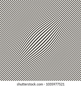 Halftone bloat effect optical illusion. Abstract geometric background design. Vector seamless black and white pattern.