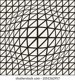 Halftone bloat effect optical illusion. Abstract geometric background design. Vector seamless retro black and white pattern.
