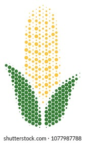 Halftone circle Corn icon. Pictogram on a white background. Vector concept of corn icon combined of sphere items.