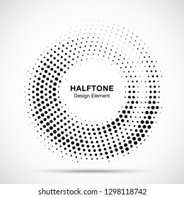 Halftone circle dotted frame circularly distributed. Abstract dots logo emblem design element. Round border Icon using random halftone circle dot raster texture. Half tone circular background pattern.