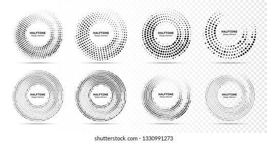 Halftone circle dotted frame circularly distributed set. Abstract dots logo emblem design element. Round border Icon using random circle dot raster texture. Half tone circular background pattern.