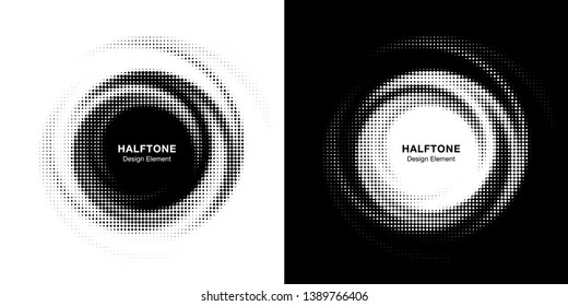 Halftone circle dotted frame circularly distributed set. Abstract dots logo emblem design element. Round border Icon using random halftone circle dot  texture. Half tone circular background pattern.