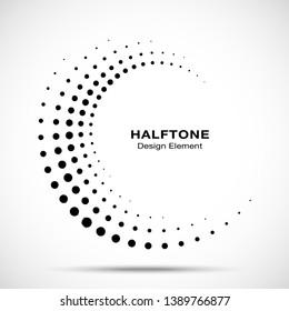 Halftone circle dotted frame circularly distributed. Vector dots logo emblem design element. Round border Icon using random halftone circle dot raster texture. Half tone circular background pattern.