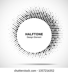 Halftone circle frame abstract dot logo emblem design element. Half tone circular icon. Original round border using halftone circle dots raster texture. Vector illustration.