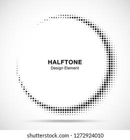 Halftone circle frame abstract dots logo emblem design element for medical, treatment, cosmetic. Half moon.