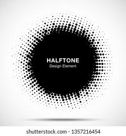 Halftone circle frame abstract dots logo emblem design element. Half tone circular icon. Grunge round border using halftone circle dots raster texture. Vector illustration.