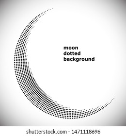 Halftone circle frame, abstract dots logo emblem design element for any projects. Round border icon. Abstract dotted vector background like muslim religion silhouette of moon symbol.