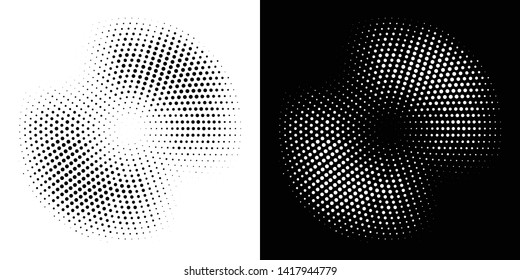 Halftone circle frame dotted background set. Round border Icon using halftone circle dots raster texture. Grunge circular stain. Vector illustration.