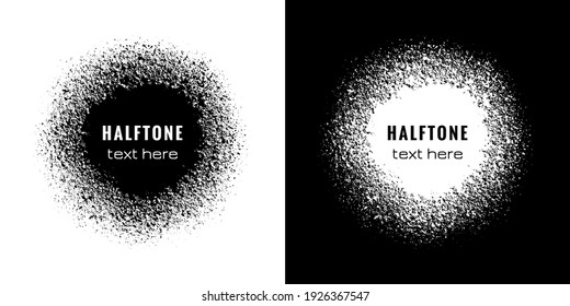 Halftone circle frame with spray effect. Circular border of grunge dots pattern. Ring boarder. Round brush. Spot paint. Drip point radial shape. Urban street. Design prints. Faded uneven dot. Vector