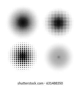 Halftone circle gradient vector doted gradient half tone gradient set