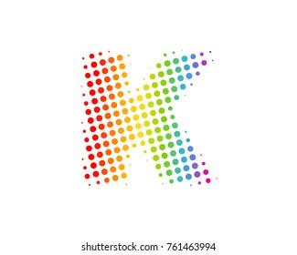 Halftone Circle Letter K Icon Logo Design Element