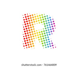 Halftone Circle Letter R Icon Logo Design Element