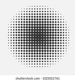 Halftone circle pattern. Half tone Vector pop art retro flat style texture background. Abstract dotted template backdrop, print poster, banner. Monochrome half-tone black element isolated on white