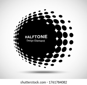 Halftone circle perspective frame abstract dots logo emblem design element for technology, medical, treatment, cosmetic. Round border Icon using halftone circle dots raster texture. Vector.