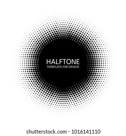 Halftone circle template for design. Stipple vector texture round gradient with dots. Comic dark distribution circles background for text.