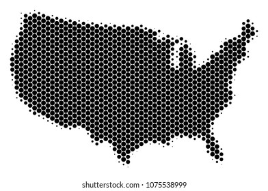 Halftone circle USA Map. Vector geographic map on a white background. Vector mosaic of USA Map created of sphere pixels.