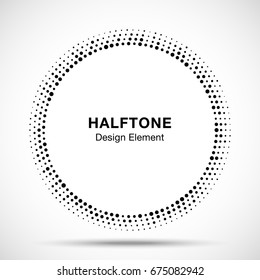 Halftone circle vector frame with black abstract random dots, logo emblem design element for technology, medical, treatment, cosmetic. Round border Icon using halftone circle dots raster texture.