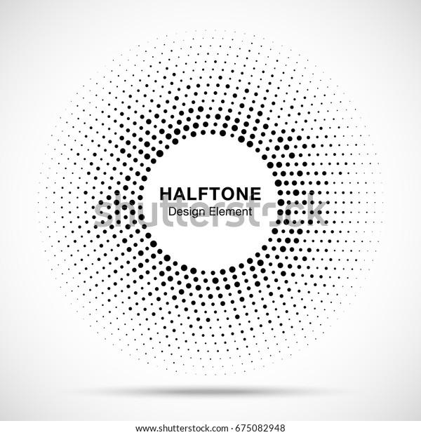 黒い抽象的なランダムドットを持つハーフトーンの円ベクター画像フレーム、テクノロジー、医療、治療、化粧品用のロゴエンブレムデザインエレメント。ハーフトーンの円ドットのラスターテクスチャを使用する丸い境界アイコン。
