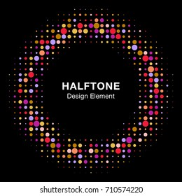 Halftone circle vector frame with colorful abstract random dots, logo emblem design element for technology, medical, treatment, cosmetic. Round border Icon using halftone circle dots raster texture.
