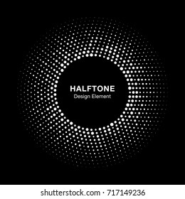 Halftone circle vector frame with white abstract random dots, logo emblem design element for technology, medical, treatment, cosmetic. Round border Icon using halftone circle dots raster texture.