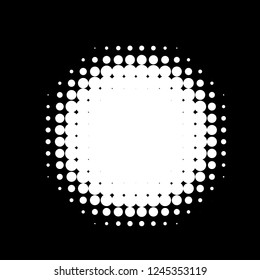 Halftone circles, halftone dots pattern, vector. White dots on black background. Monochrome half-tone. Circle halftone Dots, Fine Radial Gradient For Your Design.