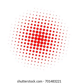 Halftone circles, halftone dots pattern, vector. Red dots on white background. Monochrome half-tone. Circle halftone Dots, Red Dotwork Engraving Pattern, Fine Radial Gradient For Your Design.