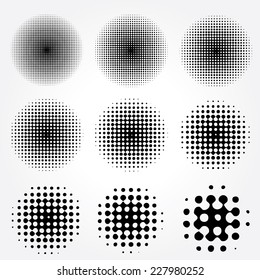 Halftone circles vector set.