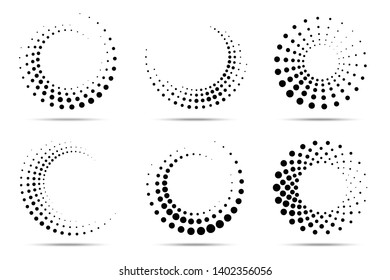 Halftone circular dotted frames set. Circle dots isolated on the white background. Logo design element for medical, treatment, cosmetic. Round border using halftone circle dots texture. Vector