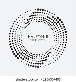 Halftone circular frame logo. Circle dots isolated on the white background. Fabric design element.Halftone circle dots texture. Vector design element for various purposes.