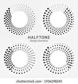 Halftone circular logo set. Circle dots isolated on the white background. Halftone fabric design.Halftone circle dots texture. Vector design element for various purposes.