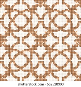 Halftone colorful seamless retro pattern round curve cross flower line