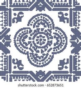 Halftone colorful seamless retro pattern vintage blue line round cross dot geometry