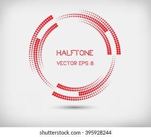Halftone design element.Abstract logo design.Halftone round shape.Vector illustration.