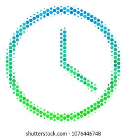Halftone dot Clock icon. Pictogram in green and blue color tinges on a white background. Vector pattern of clock icon organized of circle blots.