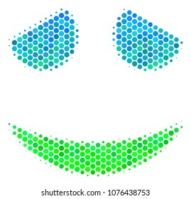 Halftone dot Embarassed Smile icon. Icon in green and blue shades on a white background. Vector pattern of embarassed smile icon designed of round blots.