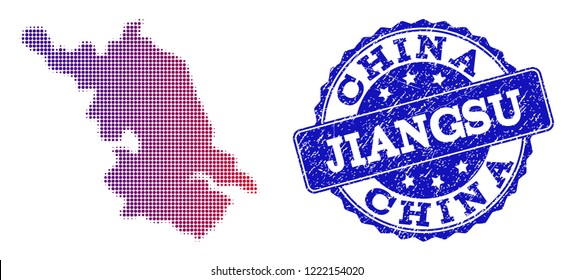 Halftone dot Map of Jiangsu Province and blue corroded seal. Vector halftone Map of Jiangsu Province designed with regular small round points and has gradient from blue to red color.
