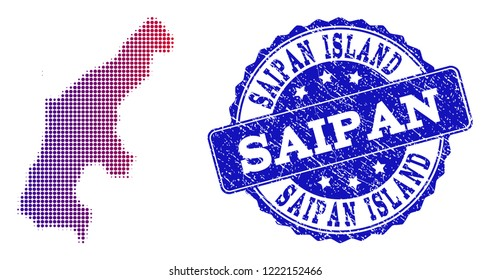 Halftone dot map of Saipan Island and blue rubber seal stamp. Vector halftone map of Saipan Island constructed with regular small round points and has gradient from blue to red color.