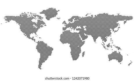 Halftone dot pattern world map background - vector graphic design