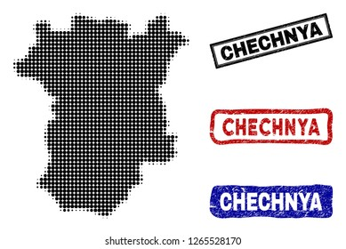 Halftone dot vector abstract Chechnya map and isolated black, red, blue rubber-style stamp seals. Chechnya map title inside draft rectangle frames and with retro rubber texture.